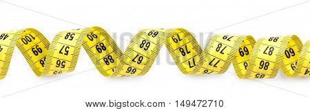 Measuring tape on white background. Diet concept