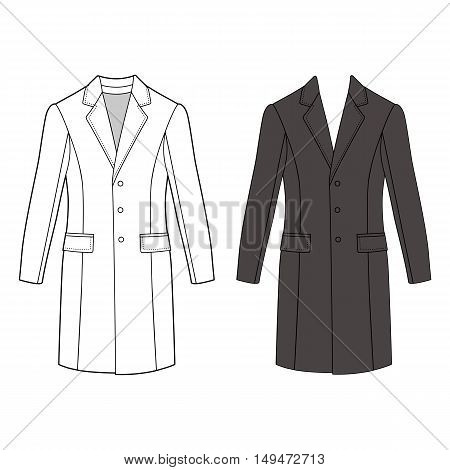 Man's coat outlined template (front view) vector illustration isolated on white background