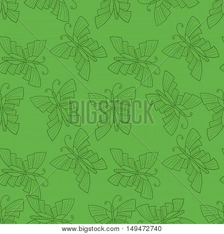 Seamless vector doodle illustration with butterfly over green background. EPS 8