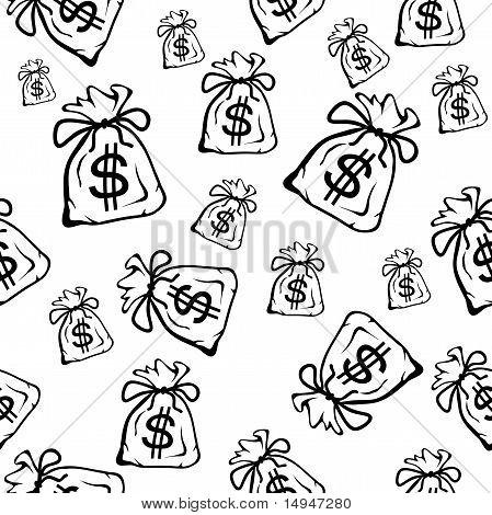 Money Bag, Seamless Vector Background