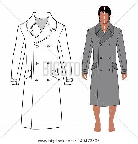 Man's coat outlined template (front view) & full length cloaked man's figure vector illustration isolated on white background