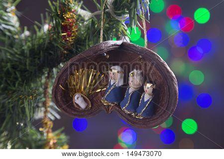 Hanging Christmas decoration Xmas Nativity scene winter time