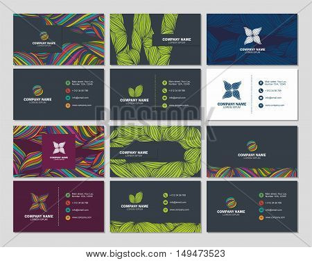 Big Set Business Card Or Visiting Card Template With Multicolor Abstract Backgrounds . Vector Design