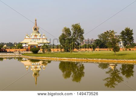 Lumbini, Nepal - November 26, 2014:  The Tara Foundation Buddhist temple at Buddhas birthplace