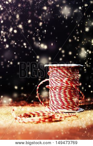 Christmas Greeting Card with Christmas Decoration and snowstorm with copyspace