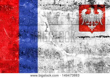 Flag Of Piotrkow Trybunalski, Poland, Painted On Dirty Wall