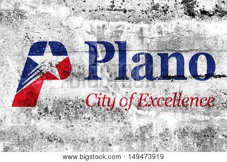Flag Of Plano, Texas, Usa, Painted On Dirty Wall