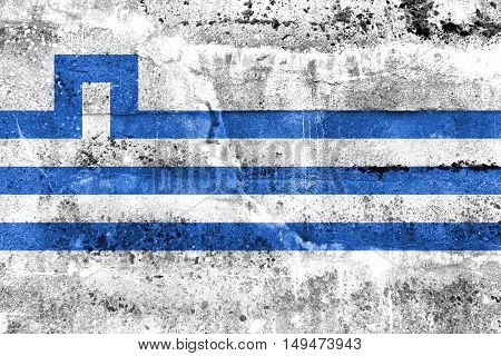 Flag Of Podgorica, Montenegro, Painted On Dirty Wall