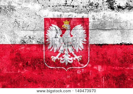 Flag Of Poland With Coat Of Arms, Painted On Dirty Wall