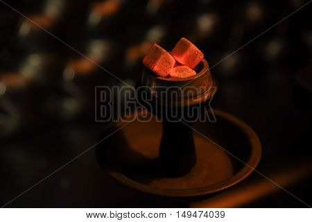 hookah hot coals for smoking and leisure in natural lighting