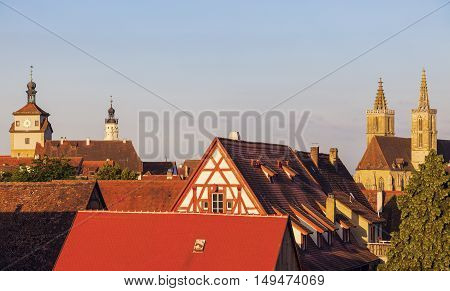 Rothenburg panorama with St. James's Church. Rothenburg Bavaria Germany