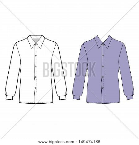 Long sleeve man's buttoned shirt outlined template (front view) vector illustration isolated on white background