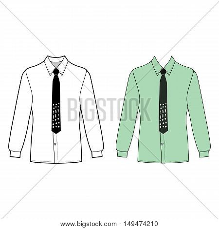 Long sleeve man's shirt & tie outlined template (front view) vector illustration isolated on white background