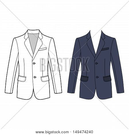 Long sleeve man's buttoned jacket outlined template (front view) vector illustration isolated on white background
