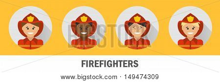 Icons firefighters of different nationalities. Fireman icon set.