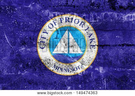 Flag Of Prior Lake, Minnesota, Usa, Painted On Dirty Wall