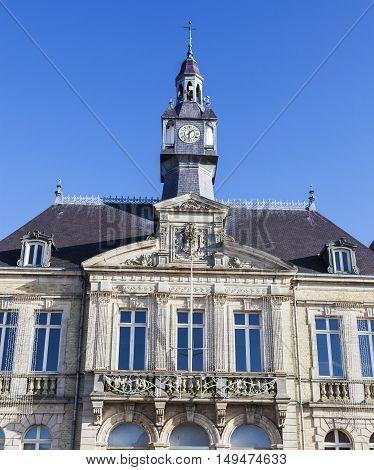 Berck City Hall and blue sky. Berck, Nord-Pas-de-Calais-Picardy, France.