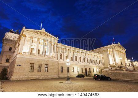 Parliament of Austria in Vienna seen at night. Vienna Austria.