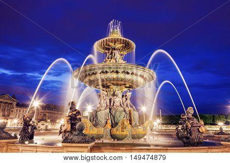 Fontaine des Fleuves on Place de la Concorde in Paris. Paris France