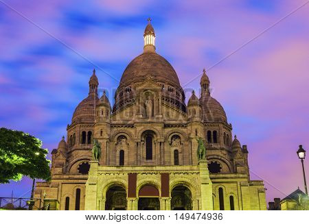 Basilica of the Sacred Heart (Sacre Coeur) in Paris. Paris France