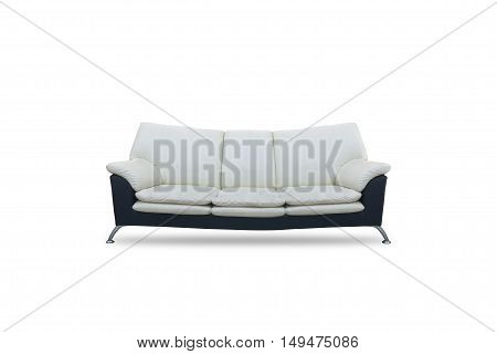 Modern sofa black and white color on isolated white background .