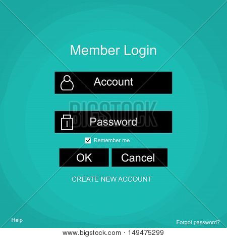Login form menu with simple line icons. Green background Website element for your web design.Vector illustration.