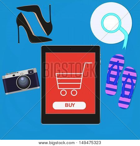 Shopping online concept. Online store. Internet shopping. e commerce concept. Mobile order and payment.Vector flat design. Basket on tablet screen.