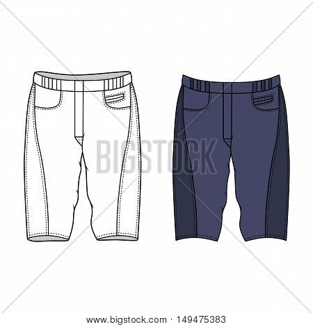 Unisex outlined template skinny shorts front view vector illustration isolated on white background