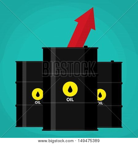 three oil barrels and red chart graph arrow pointing up. illustration in flat style on green background