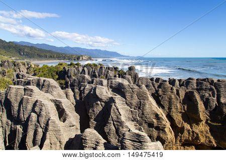 Pancake rocks close to Punakaiki in New Zealand