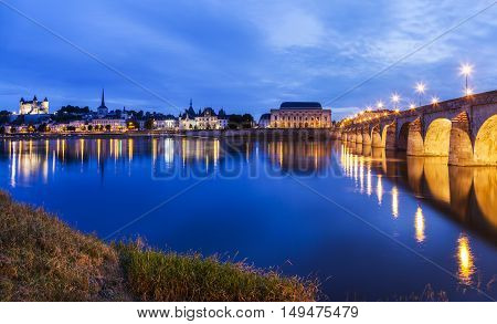 Panorama of Saumur at night. Saumur Pays de la Loire France