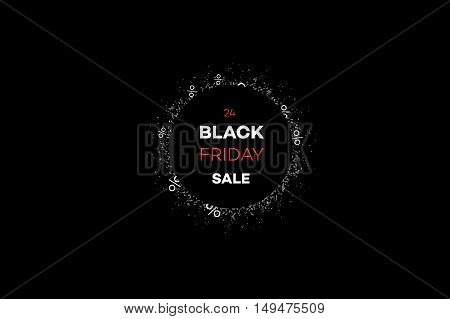 Black Friday Sale Decoration With Abstract Clock Face. Promotional Design Template. Vector Illustrat