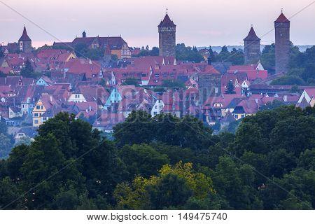 Panorama of Rothenburg at sunrise. Rothenburg Bavaria Germany