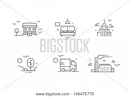 Different buildings icon set for real estate agency. Property collection. Thin line design. Flat style