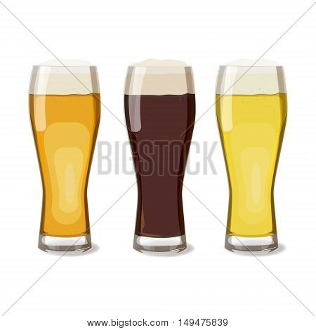 A set of glasses with different beers views. Vector illustration of beer isolated. Oktoberfest