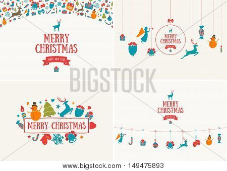 Merry Christmas decoration and card design. Happy New Year design elements. Vintage symbols of pastel deer, bell, snowflake, ribbon, bow, tree, snowman. Holiday hand drawn vector icons set.