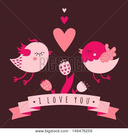 I love you vector card (background) in dark and light pink and brown colors with birds flowers ribbon and heart