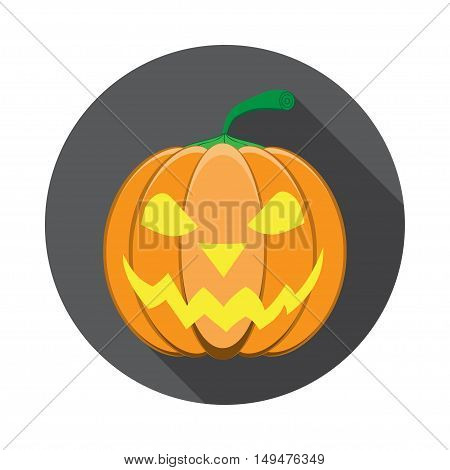 Vector isolated icon of glowing lantern jack with shadow for Halloween in flat.
