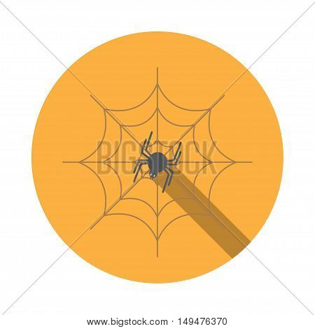 Vector isolated icon of spider on the spidernet with shadow for Halloween.
