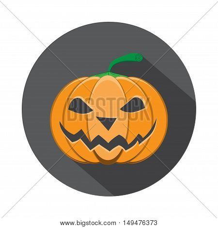 Vector isolated icon of halloween pumpkin in flat with shadow.