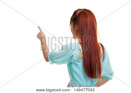 Back of Asian  woman touching the screen with her finger isolated on white background