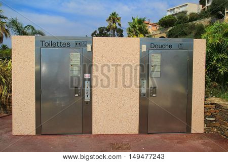 LE LAVANDOU PROVENCE FRANCE - AUGUST 17 2016: Automatic self cleaning public toilets which are common on the French Riviera