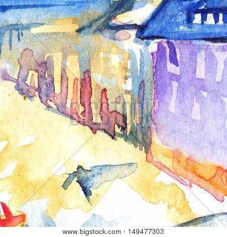 Watercolor night illuminated street square city town artwork