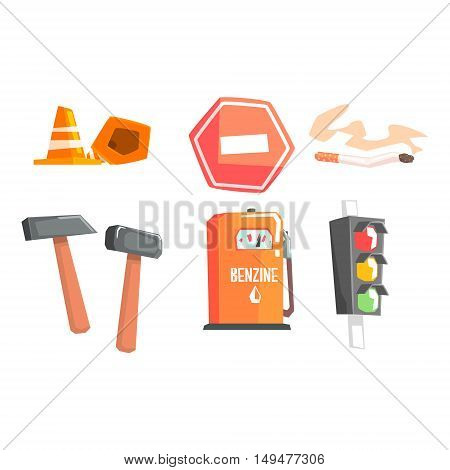 Road Sign, Cones, Hammers, Cigarette, Petrol Filling And Street Light Cool Colorful Vector Illustration In Stylized Geometric Cartoon Design
