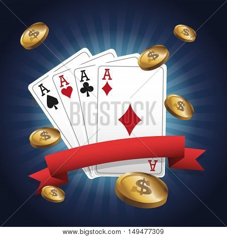 cards of poker and coins icon. Casino and las vegas theme. Colorful design. Vector illustration