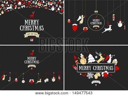 Merry Christmas decoration and card design. Happy New Year design elements. Vintage symbols of colourful deer, bell, snowflake, ribbon, bow, tree, snowman. Holiday hand drawn vector icons set.