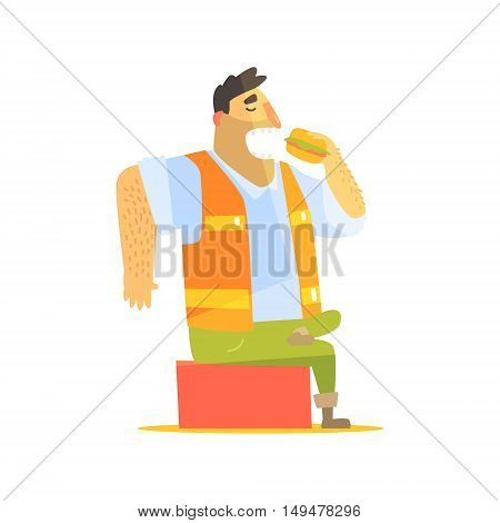 Builder Eating Lunch On Construction Site. Graphic Design Cool Geometric Style Isolated Character On White Background