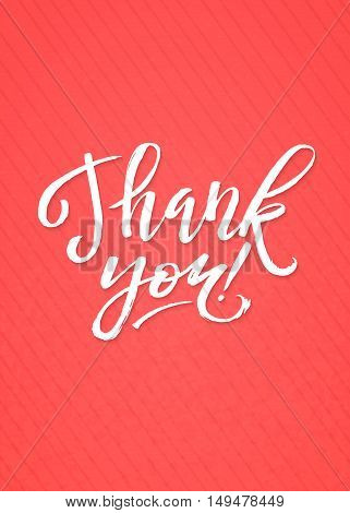 Thank You Card Calligraphic Inscription. Hand Lettering on Pink Textured Background.
