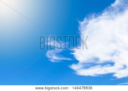 Real clear blue sky no cloud with Bright Sunlight for background