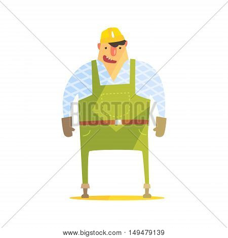 Builder In Hard Hat On Construction Site. Graphic Design Cool Geometric Style Isolated Character On White Background